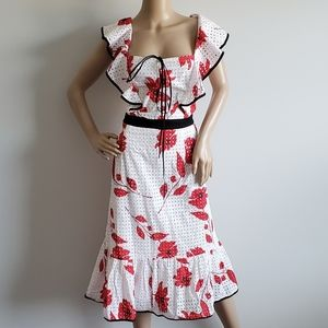 NWT ELOQUII RED AND WHITE FLORAL RUFFLE DRESS 16